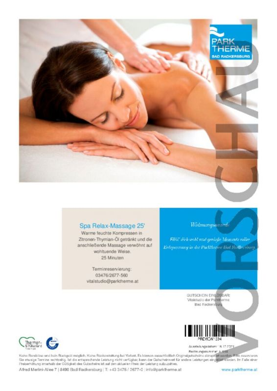 Spa-Relax Massage 25 Minuten